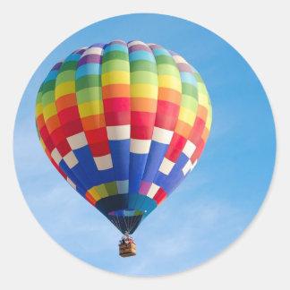Rainbow hot air balloon classic round sticker