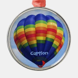 Rainbow Hot Air Ballooning Round Metal Christmas Ornament