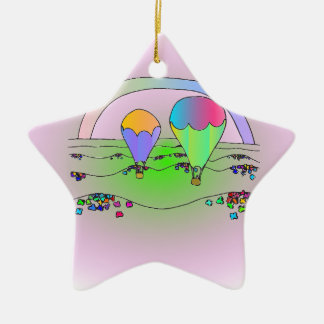 Rainbow Hot Air Balloons Christmas Ornament