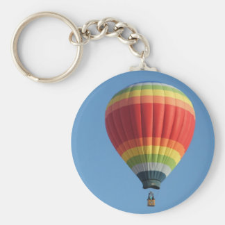 Rainbow hot air baloon basic round button key ring