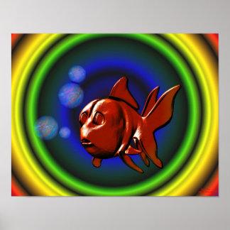 Rainbow Hues Goldfish Poster