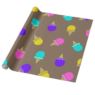 Rainbow ice cream cones wrapping paper