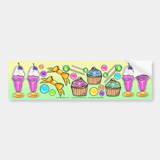 Rainbow Ice Cream Sundae Cup Cake Candy Party Bumper Stickers