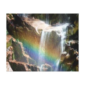 Rainbow in a waterfall canvas print