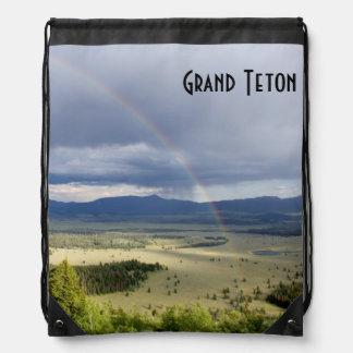 Rainbow in Grand Teton National Park Drawstring Bags