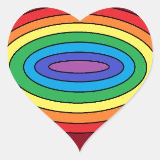 Rainbow in Oval Heart Sticker