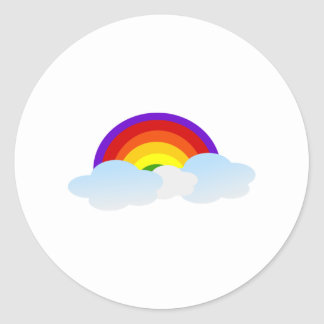Rainbow in the Clouds Classic Round Sticker