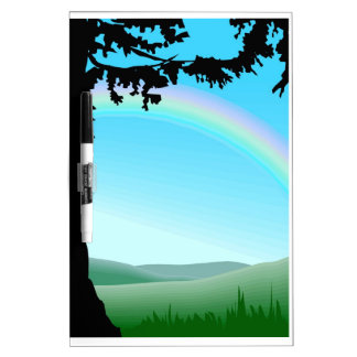 Rainbow in the countryside dry erase board