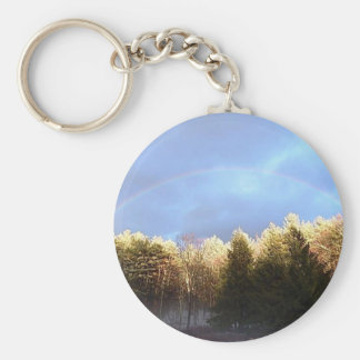 Rainbow in the Mountains Basic Round Button Key Ring