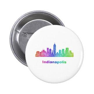 Rainbow Indianapolis skyline 6 Cm Round Badge