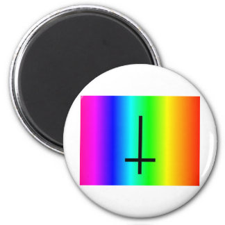 Rainbow inverted cross gear 6 cm round magnet