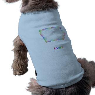 Rainbow Iowa map Sleeveless Dog Shirt