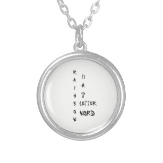Rainbow is a 7 letter word. silver plated necklace