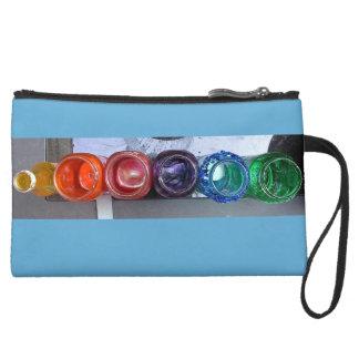 Rainbow Jars Suede Wristlet