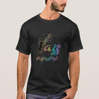 Rainbow Jazz Saxophone Music Notes T-Shirt