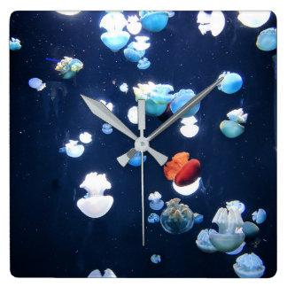 Rainbow Jelly Fish  Monogram Clock