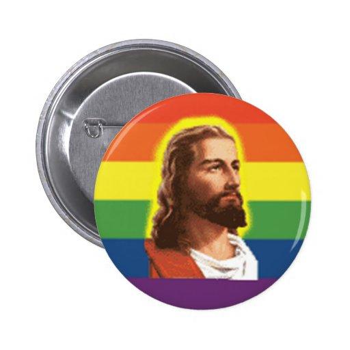 Rainbow-Jesus Pinback Button