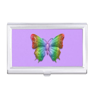 Rainbow Jeweled Butterfly 3D Effect Business Card Holder