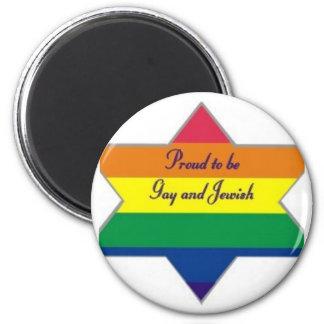 Rainbow Jewish Star 6 Cm Round Magnet
