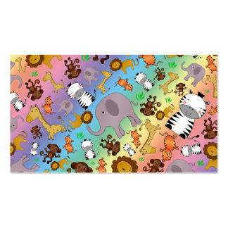 Rainbow jungle safari animals business card template