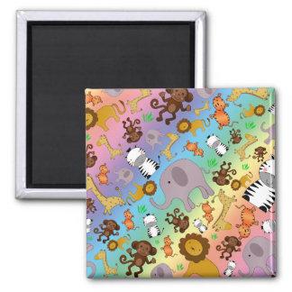 Rainbow jungle safari animals magnets