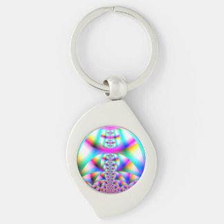 Rainbow Kaleidoscope Silver-Colored Swirl Key Ring