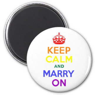 Rainbow Keep Calm and Marry On 6 Cm Round Magnet
