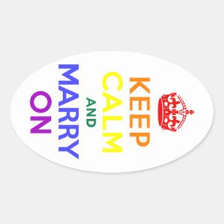 Rainbow Keep Calm and Marry On Oval Sticker