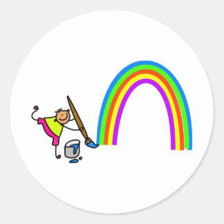 Rainbow Kid Round Sticker