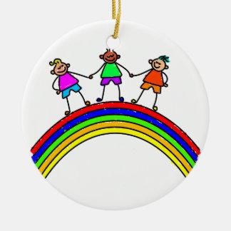 Rainbow Kids Christmas Ornament