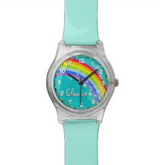Rainbow kids named aqua teal multi-coloured watch