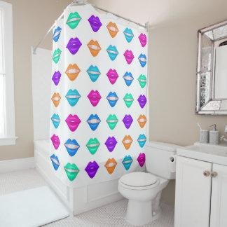 Rainbow kiss lips shower curtain