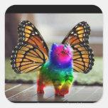 Rainbow kitten unicorn butterfly square sticker