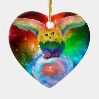 Rainbow Kitten Unicorn Gold  Fish Space Buddies Christmas Ornament