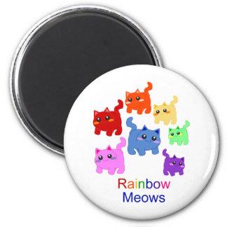 Rainbow kittens! 6 cm round magnet