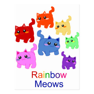 Rainbow kittens! postcard