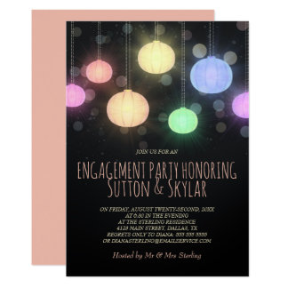 Rainbow Lanterns Engagement Party Invitation