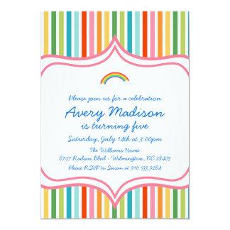 "Rainbow Large wide STripe Modern Birthday Invite 5"" X 7"" Invitation Card"