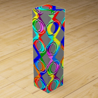 Rainbow Lattice and Circles Wine Gift Box