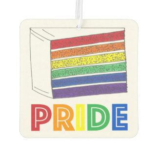 Rainbow Layer Cake Slice LGBT Gay Pride Car Air Freshener