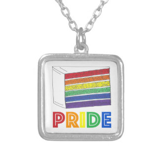 Rainbow Layer Cake Slice LGBT Gay Pride Necklace