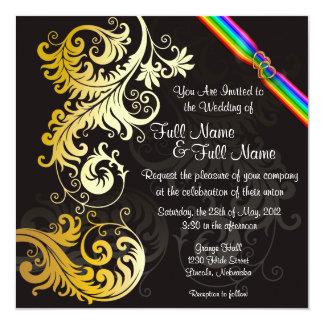 Rainbow Leafy Gold & Black Wedding Invite