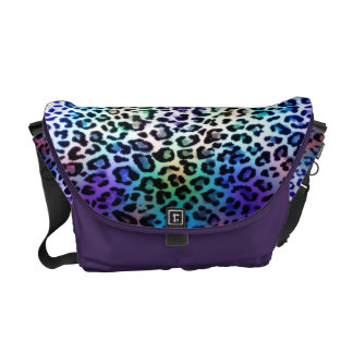 Rainbow Leopard and Amethyst Messenger Bag
