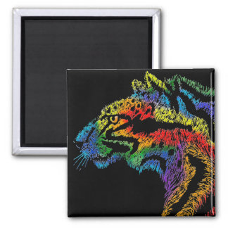 Rainbow leopard (black) magnet