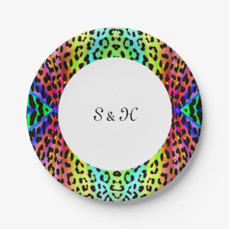 Rainbow Leopard Print Design Paper Plate