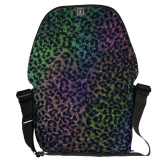 rainbow leopard print messenger bag