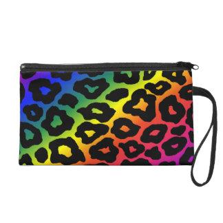 Rainbow Leopard Print Wristlet