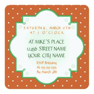 Rainbow Leprechaun St. Patrick's Day green brown 13 Cm X 13 Cm Square Invitation Card