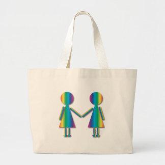 Rainbow Lesbian Love Tote Bags