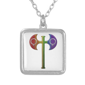 Rainbow Lesbian Pride Labrys Silver Plated Necklace